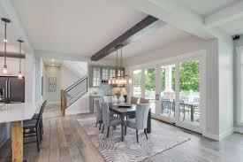 dining room oak hardwood floors stained beam ceiling detail