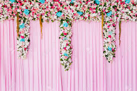 wedding backdrop background wedding backdrop with flower decoration for background stock photo