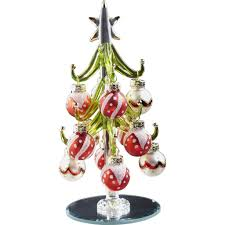 6 glass green tree with and white ornaments the