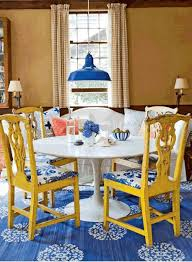 Bright Blue Rug Beautiful Classic Dining Room With Rustic Yellow Wood Chairs White