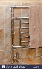 Small Heated Towel Rails For Bathrooms Chrome Bathroom Towel Rail Radiator Stock Photo Royalty Free