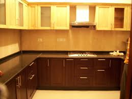 Rubberwood Kitchen Cabinets Enchanting Modular Kitchen With L Shape Features White Green