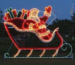 santa in sleigh garland lights commercial outdoor decoration