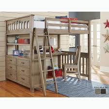 Bunk Bed Desk Highlands Collection Driftwood Size Loft Bed Dresser And