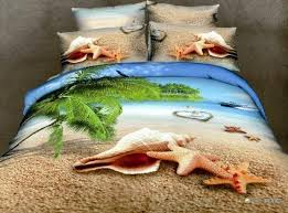 Starfish Comforter Set 3d Blue Sky Shell Beach Green Tree Ocean Comforter Bedding Set