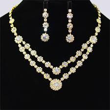 elegant necklace set images Elegant gold unique crystals bridal wedding jewelry necklace set jpg