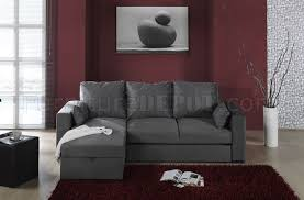 dark grey microfiber upholstery modern sectional couch w storage