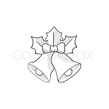 christmas bells vector sketch icon isolated on background hand