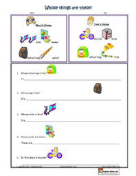 pronouns possessive pronouns worksheets for esl