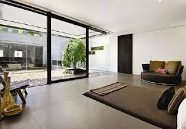 luxury minimalist penthouse design with double height living room