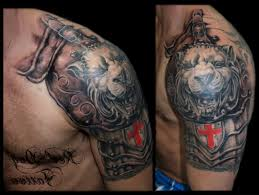 armor and lion tattoos on shoulder in 2017 real photo pictures