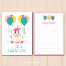 cute birthday card with unicorn and balloons vector free download