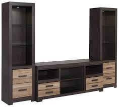 Gaylon Bedroom Set Ashley Furniture Large Tv Stand U0026 2 Tall Piers By Signature Design By Ashley Wolf
