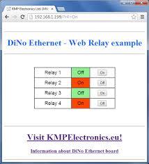 kmp electronics ltd u003e examples u003e dino ii u003e web relay control