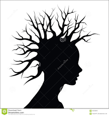silhouette with tree as hair stock vector image 58338690