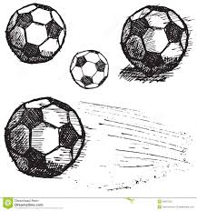 football soccer ball sketch set isolated on white background stock