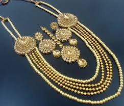 pearls gold necklace sets images Lct cz pearl gold tone traditional rani haar necklace set 4 pcs jpg