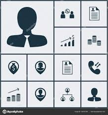 Resume Vector Set Of Management Icons On Female Application Manager And