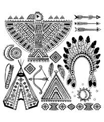 native american various symbols native american coloring pages