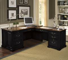 Black Corner Office Desk Furniture Stylish Corner Office Desk Feats Storage Drawers Also