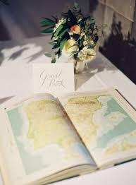 vintage atlas wedding guest book brides