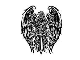 Mexican Flag Tattoos Awesome Black Eagle Keeping Celtic Sword Tattoo Design