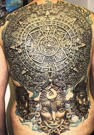 attractive aztec sun on back