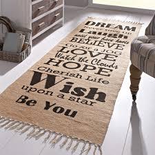 flur teppich teppich sprüche 70 x 200 cm mit schriftzug jute baumwolle