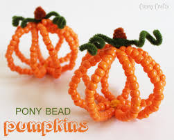 Make Your Own Halloween Decorations Kids Pony Bead Pumpkins Halloween Kid Craft Pony Beads Pony And Beads