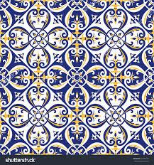 portuguese tiles pattern vector blue yellow stock vector 622156163