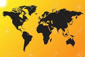World Map Vector World Map Vector Illustration On A Sun Background Royalty Free
