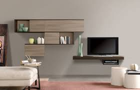 Modern Wall Unit Living Room Minimalist Room With Modern Wall Units On White Wall