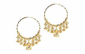 gold jhumka hoop earrings two tone 22ct gold jhumka hoop earrings e 4590 minar jewellers