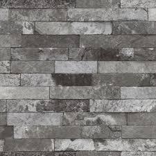 washington wallcoverings silver on black toned faux brick vinyl