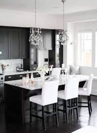 easy black and white kitchen ideas with classic lamps and floor stunning white and black kitchen decor with granite kitchen table and crystal pendant lamps
