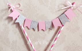 pink bows custom name pink silver glitter cake topper banner with pink bows