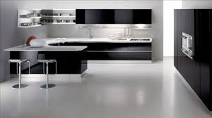 Gloss White Kitchen Cabinets Classy White Black Colors Curved Shape Kitchen Featuring Black
