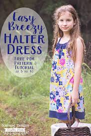 free easy breezy halter dress pattern girls sizes 3 to 10