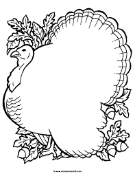 turkey coloring page outline or shape book a to z stuff