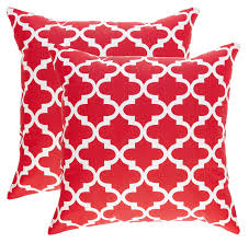 trellis design decorative cushion covers 2 pack red
