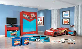 simple little boy bedroom ideas red white rool up curtain blue and