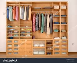 wooden wardrobe closet full different things stock illustration