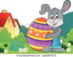 big easter bunny bunny holding big easter egg theme 4 eps10 vector vectors