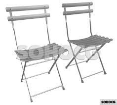 folding bistro chair 3d model french outdoor cafe garden sohocg