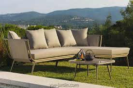 canapé jardin timber de talenti salon de jardin aluminium et teck tissu denim
