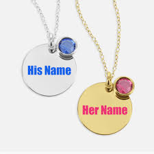 Couple Name Necklace Print Couple Name On Circle Necklace With Birthstone