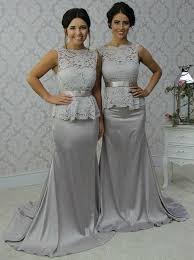 silver grey dresses wedding buy scalloped edge sweep sheath silver bridesmaid