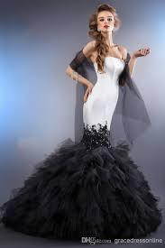 white dresses for wedding mermaid wedding dresses 2014 black and white satin tulle