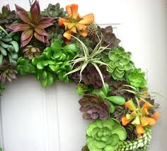 large artificial succulent wreath faux succulent front door