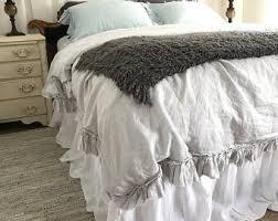 light grey bed skirt grey linen bedding etsy